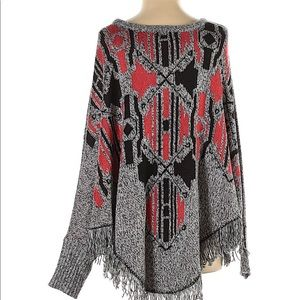 Boho Pullover Sweater Poncho with Fringe/Fray Trim